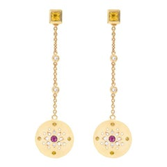 Julia-Didon Cayre Sapphire, Citrine and Diamond Earrings in 18 Karat Yellow Gold
