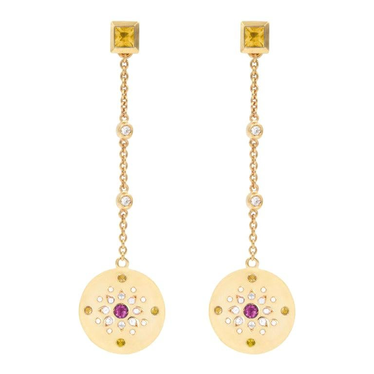 Julia-Didon Cayre Sapphire, Citrine and Diamond Earrings in 18 Karat Yellow Gold For Sale