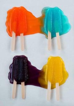 Four Melt - Melting orange, blue, purple, & yellow double popsicle summer grid