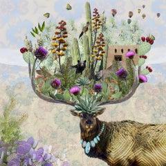 New Mexico Elk - Springtime purple & green digital collage w/ plants & animals