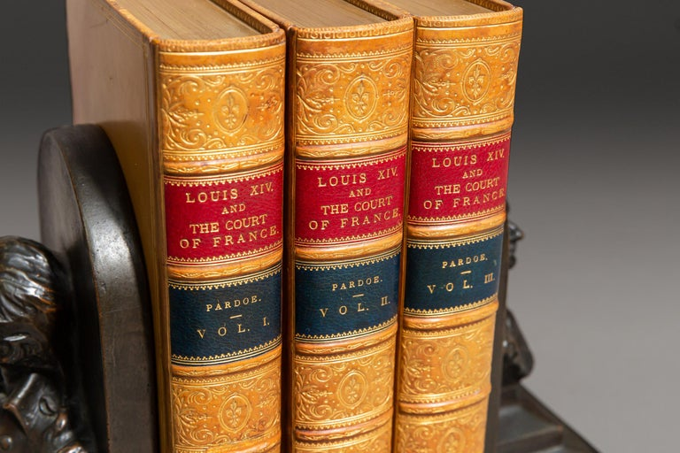 3 Volumes. Julia Pardoe. Louis XIV And The Court Of France In The 17th Century. With numerous Illustrations On steel and wood. Bound in full tan polished calf by Zaehnsdorf, all edges gilt, raised bands, ornate gilt on spines. Published: London: