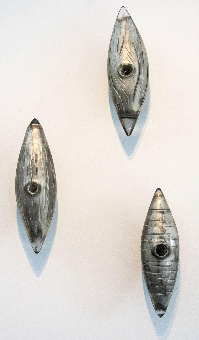 Julia Reimer Abstract Sculpture - Cocoon Series Silver Woodgrain Grouping