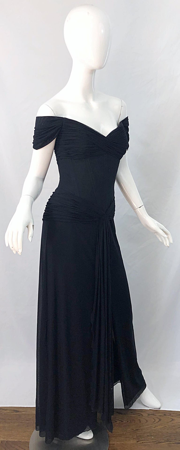 Julia Roberts Pretty Woman Vintage Vicky Tiel Couture Sz 12 Black 1980s Gown For Sale 6