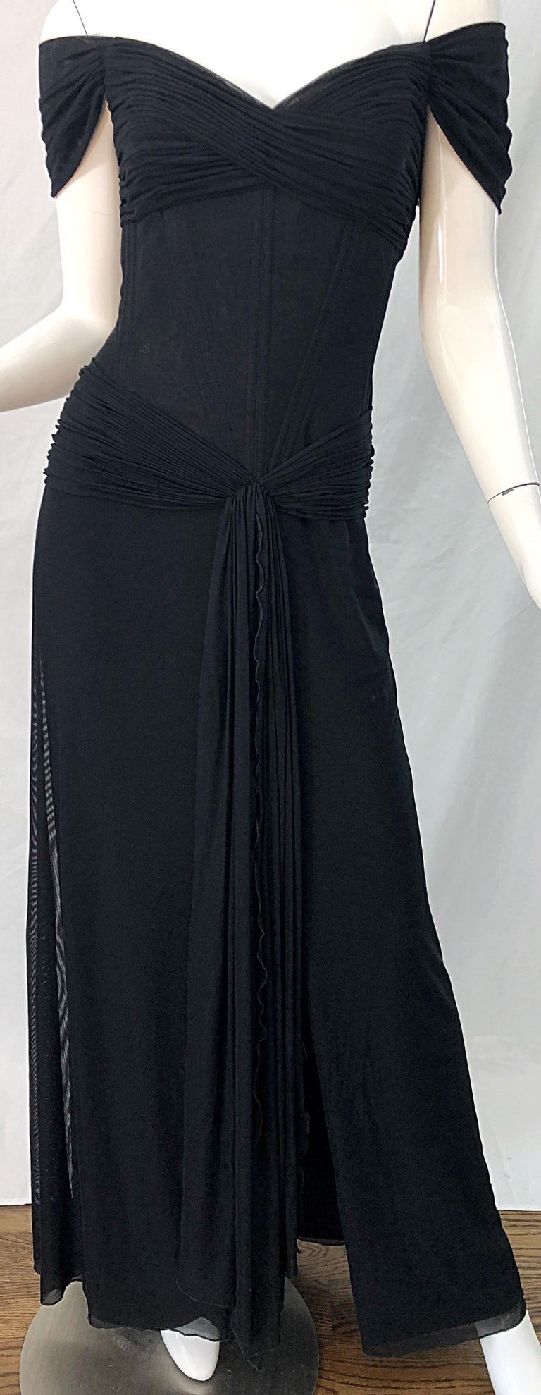 Julia Roberts Pretty Woman Vintage Vicky Tiel Couture Sz 12 Black 1980s Gown For Sale 7