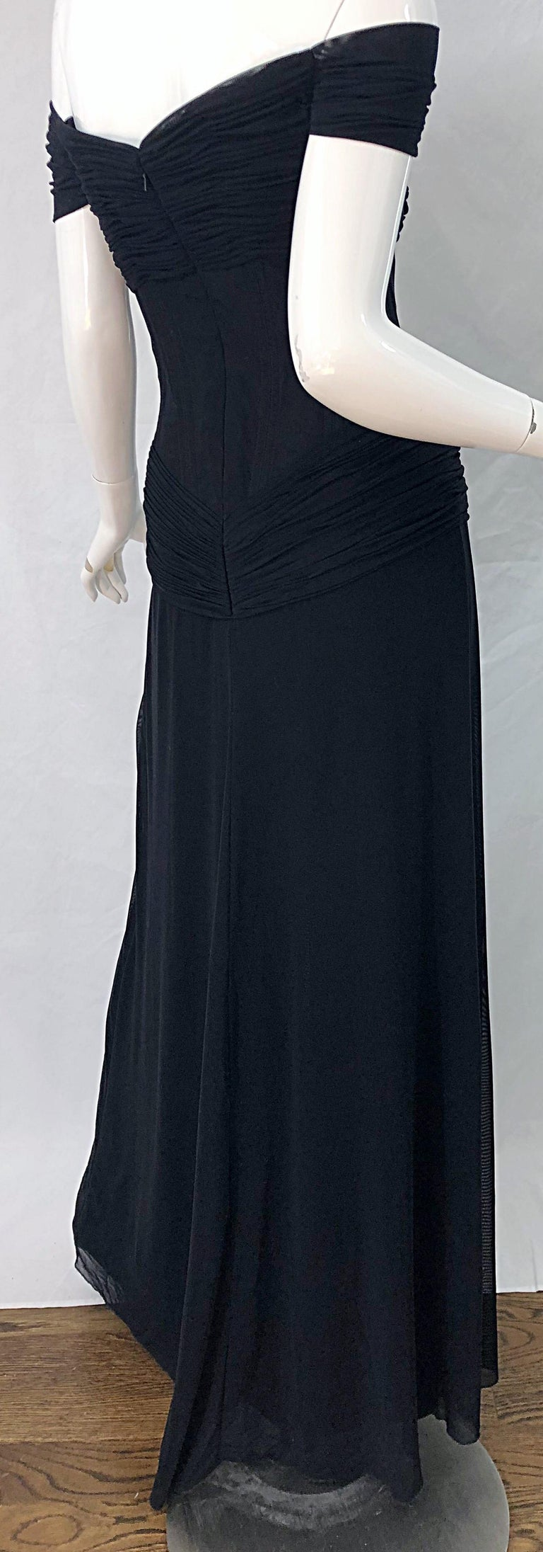 Julia Roberts Pretty Woman Vintage Vicky Tiel Couture Sz 12 Black 1980s Gown For Sale 8