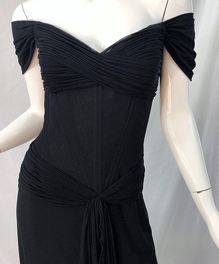 Julia Roberts Pretty Woman Vintage Vicky Tiel Couture Sz 12 Black 1980s Gown For Sale 9