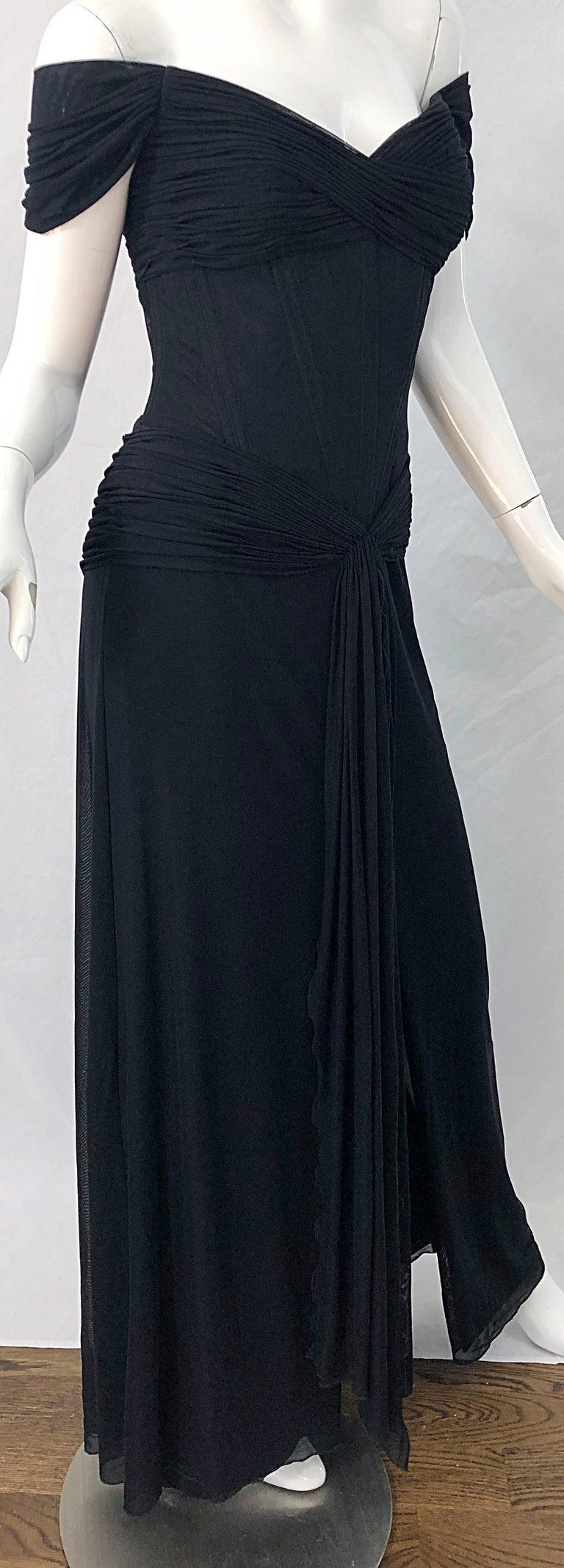Julia Roberts Pretty Woman Vintage Vicky Tiel Couture Sz 12 Black 1980s Gown For Sale 10