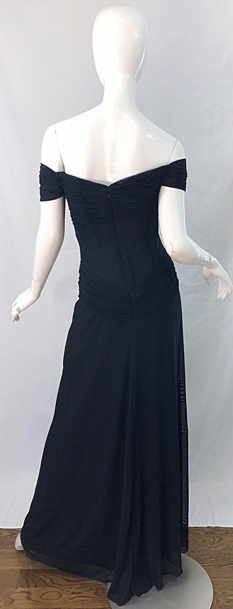 Julia Roberts Pretty Woman Vintage Vicky Tiel Couture Sz 12 Black 1980s Gown For Sale 11