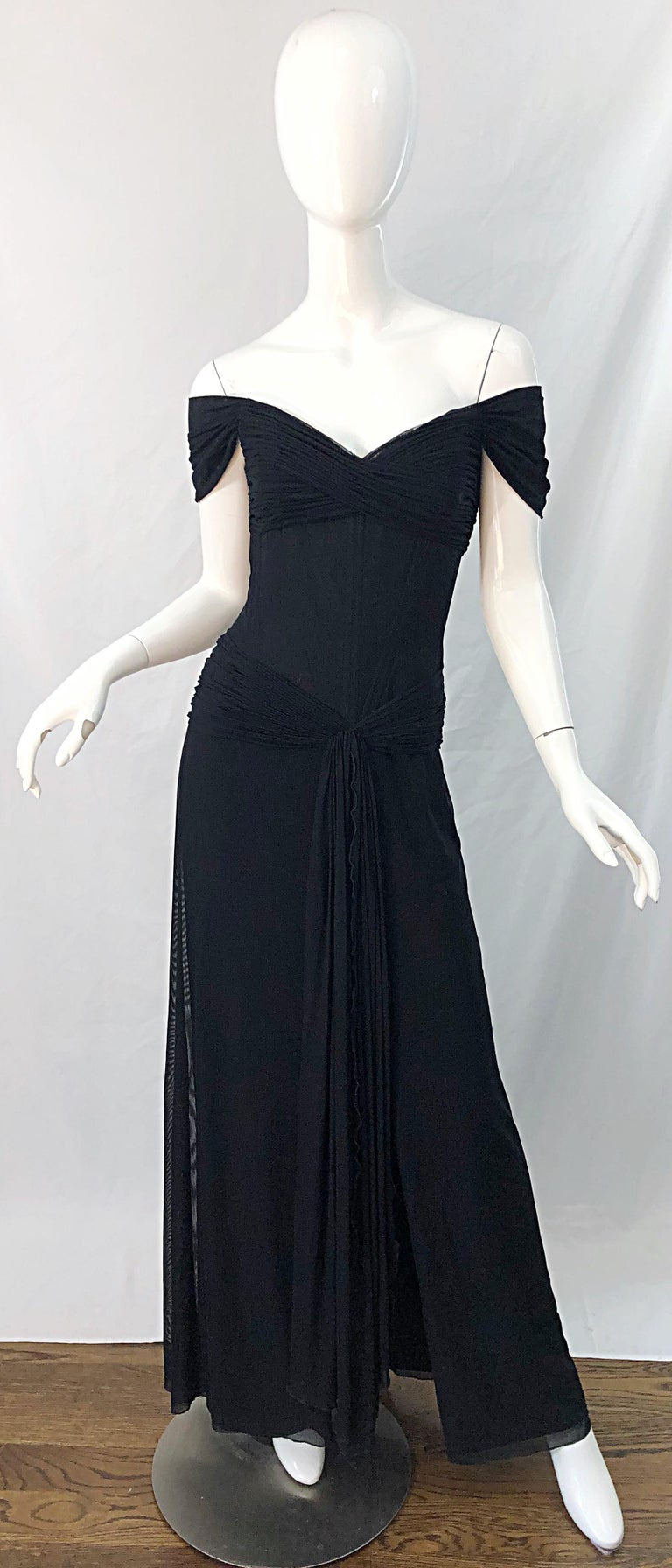 Julia Roberts Pretty Woman Vintage Vicky Tiel Couture Sz 12 Black 1980s Gown For Sale 12