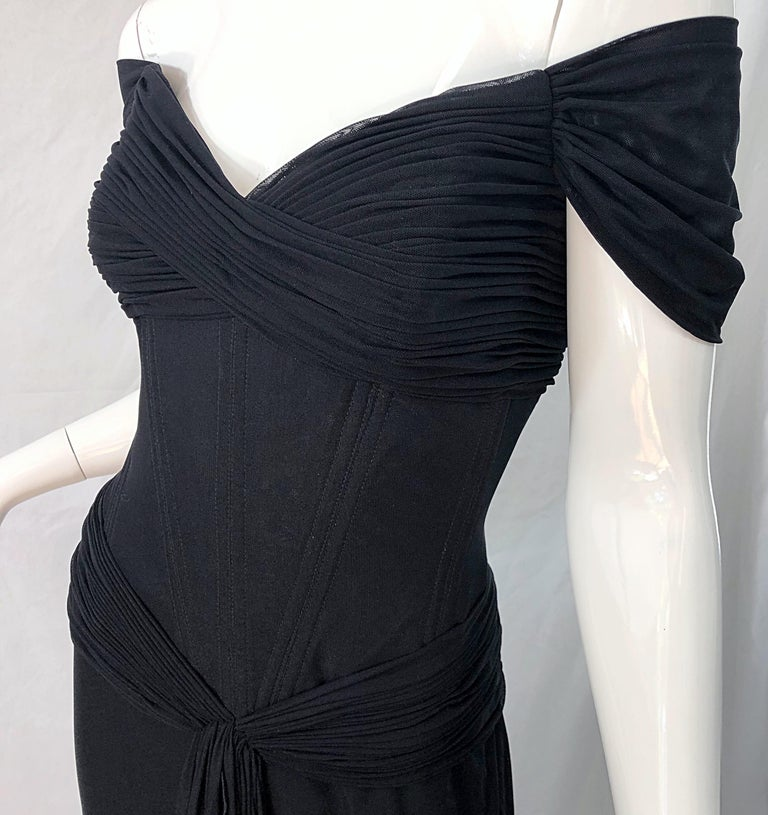 Julia Roberts Pretty Woman Vintage Vicky Tiel Couture Sz 12 Black 1980s Gown For Sale 1