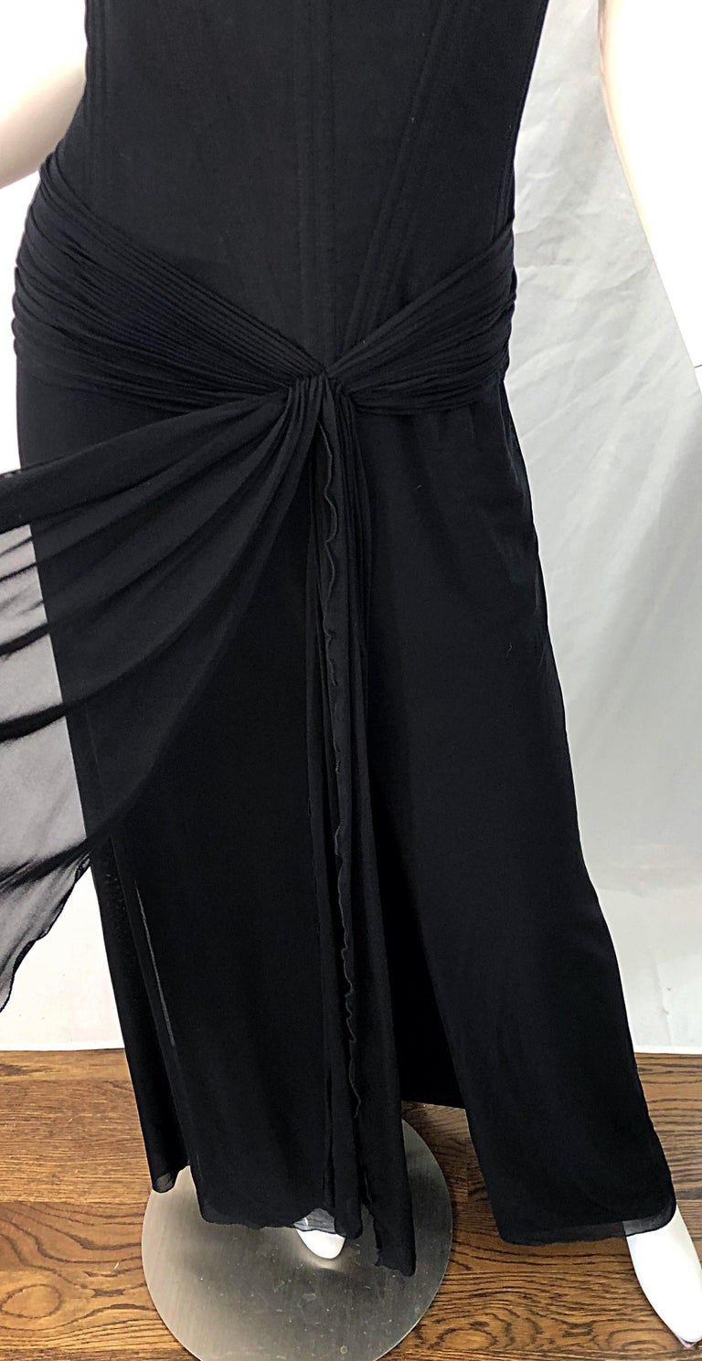 Julia Roberts Pretty Woman Vintage Vicky Tiel Couture Sz 12 Black 1980s Gown For Sale 3