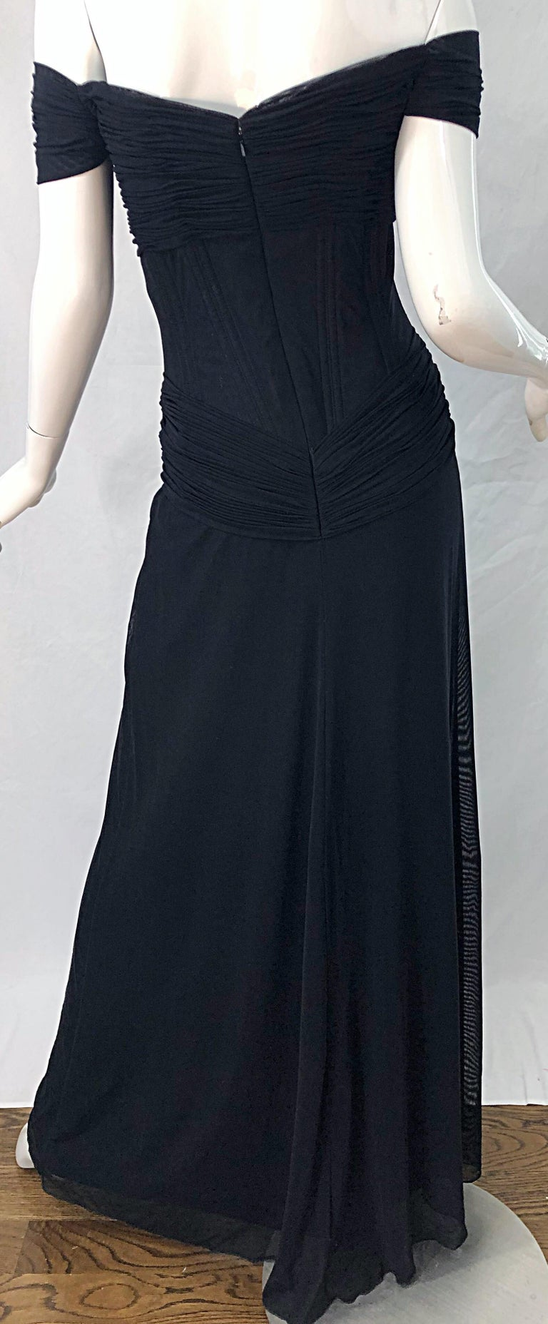 Julia Roberts Pretty Woman Vintage Vicky Tiel Couture Sz 12 Black 1980s Gown For Sale 4