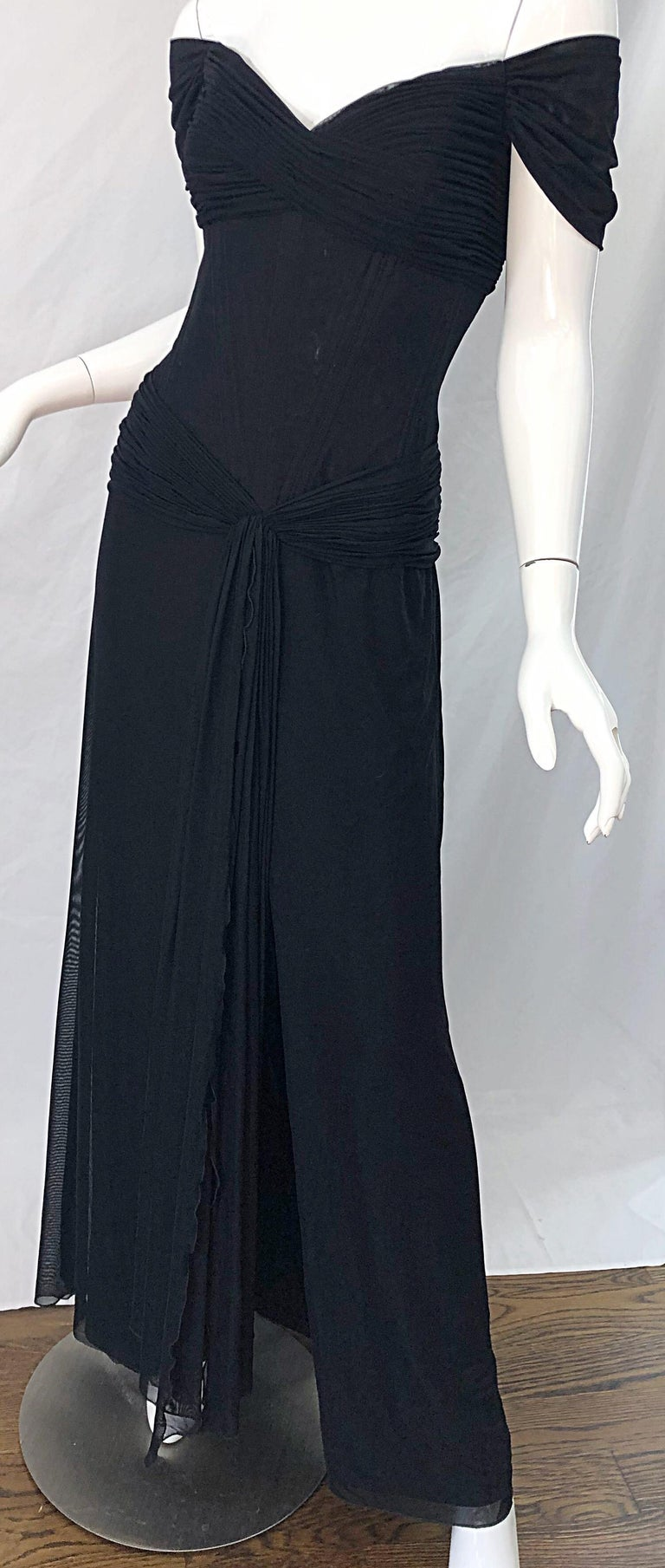 Julia Roberts Pretty Woman Vintage Vicky Tiel Couture Sz 12 Black 1980s Gown For Sale 5