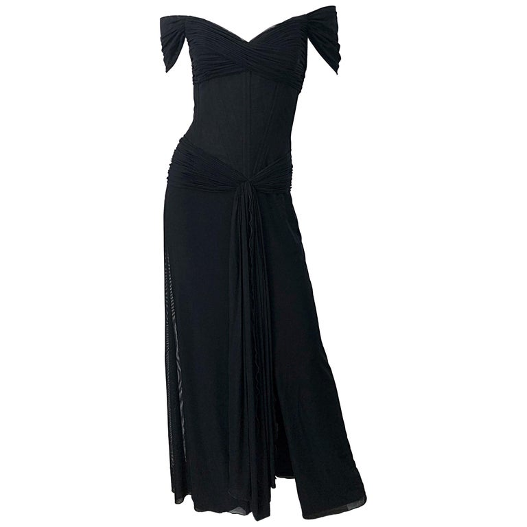 Julia Roberts Pretty Woman Vintage Vicky Tiel Couture Sz 12 Black 1980s Gown For Sale