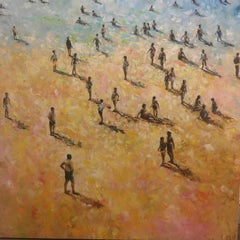Back to the Beach - contemporary figurative people beach landscape oil painting