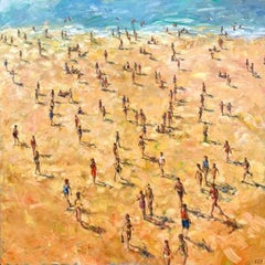 Holiday - contemporary beach landscape people oil painting
