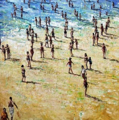 Holiday Memories - Figurative People on a Sandy, Summer Beach: Oil on Canvas