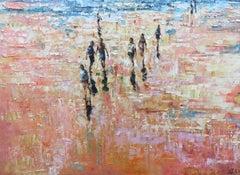 Sunset Beach - contemporary landscape sun summer sand beach people oil painting