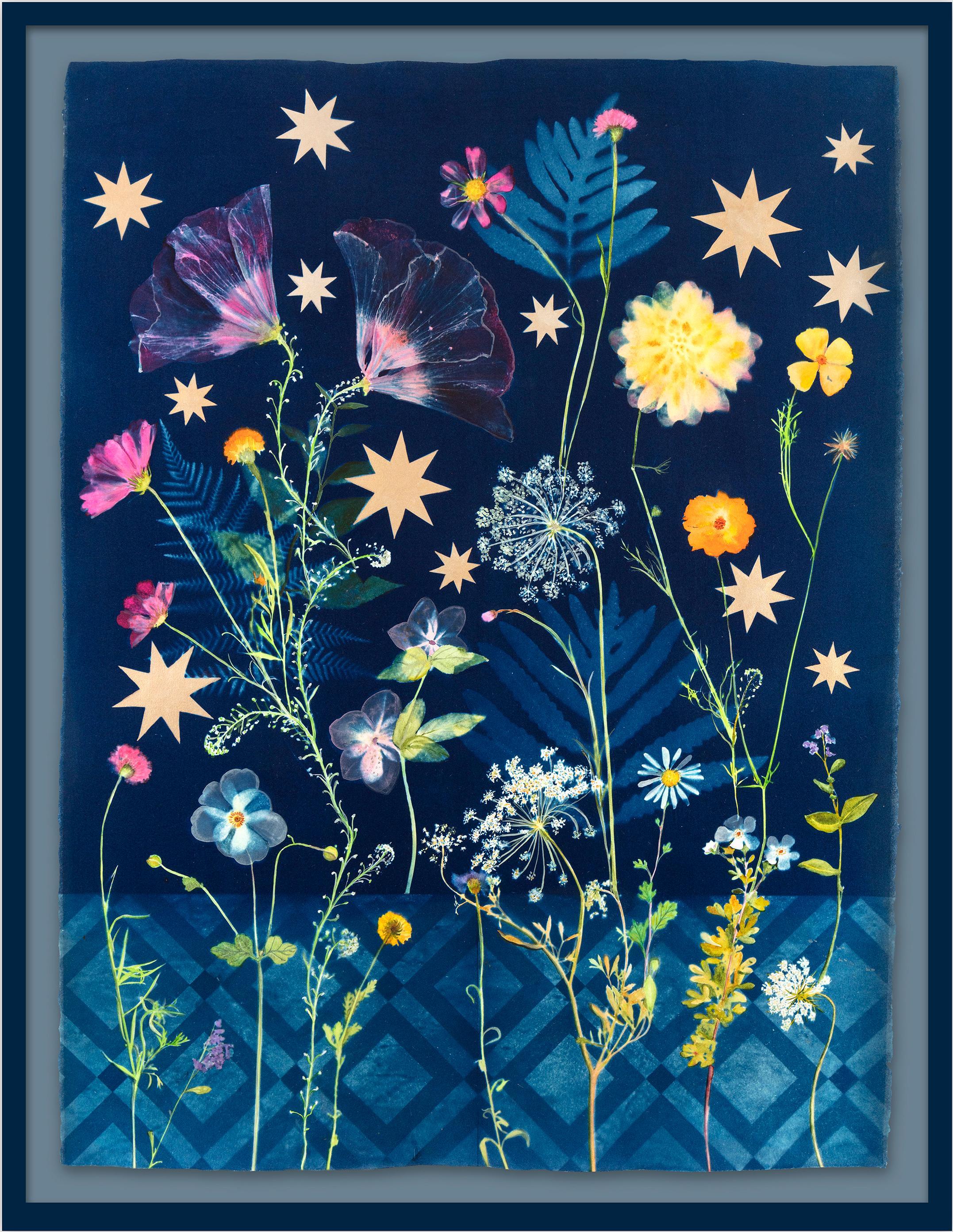 Botanical Stars (Still Life Figurative Painting of Flowers on Indigo Blue)