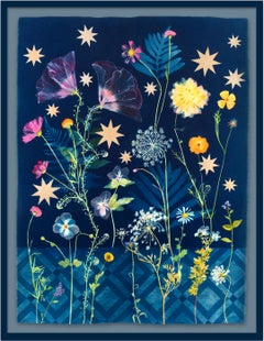 Botanical Stars (Still Life Figurative Painting of Flowers on Indigo Blue)