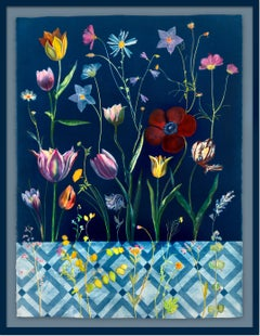 Botanical Tulips (Still Life Figurative Painting of Flowers on Indigo Blue)