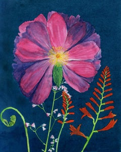 Dark Pink Peony: Still Life Cyanotype Painting of Pink & Red Flowers on Blue