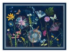 Hibiscus, Ferns, Moths (Still Life Cyanotype Painting of Flowers on Indigo Blue)