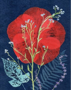 Red Hibiscus, Forget Me Not: Still Life Painting of Red & Blue Flowers on Indigo