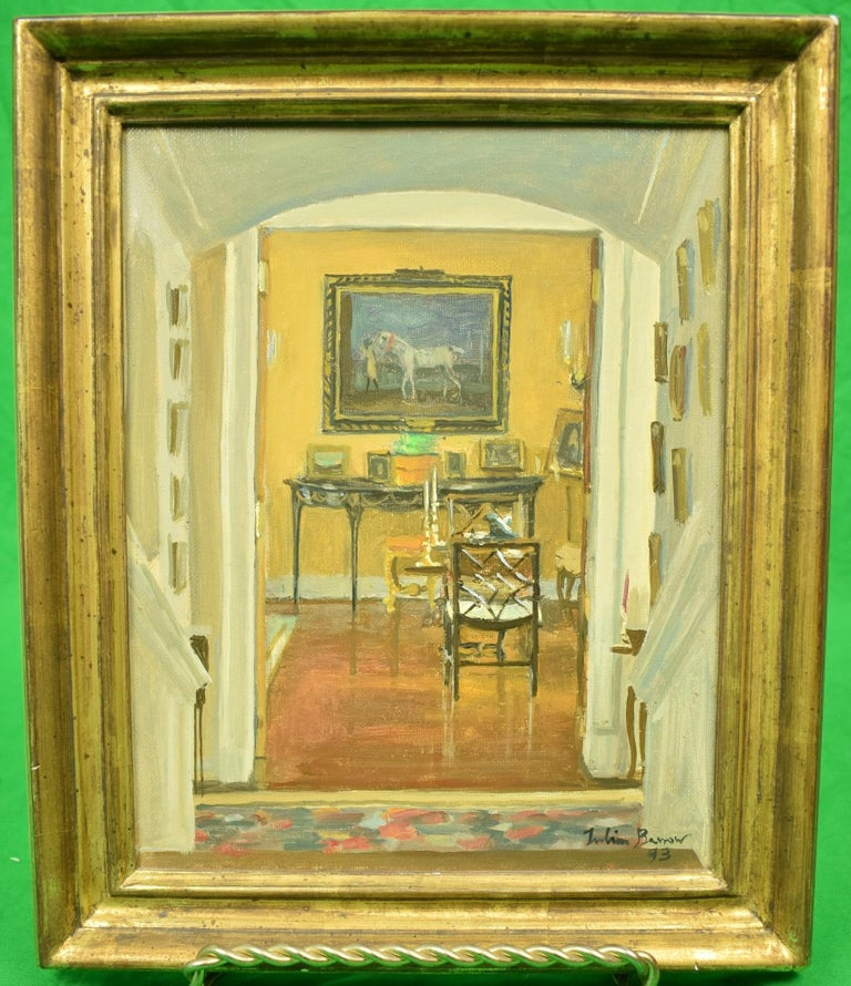 """Julian Barrow Interior Painting - JULIAN BARROW (1939-2013): """"OAKENDALE"""", FROM FRONT HALL TO DRAWING ROOM"""