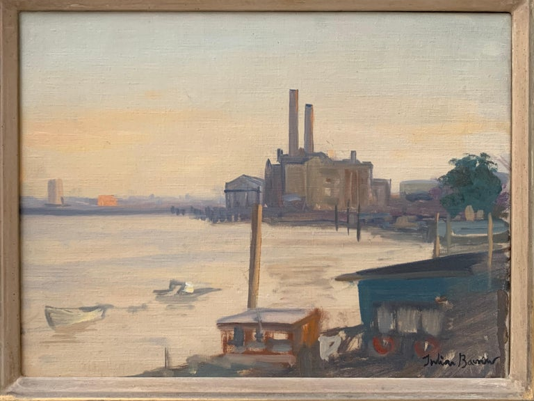 SIGNED ORIGINAL OIL - LOTS ROAD CHELSEA RIVER THAMES LONDON SKYLINE - Painting by Julian Barrow