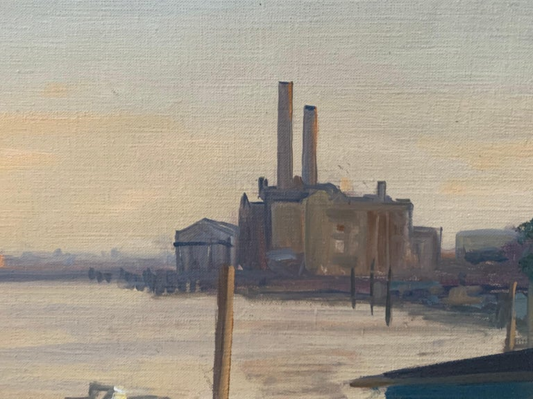 SIGNED ORIGINAL OIL - LOTS ROAD CHELSEA RIVER THAMES LONDON SKYLINE - Impressionist Painting by Julian Barrow