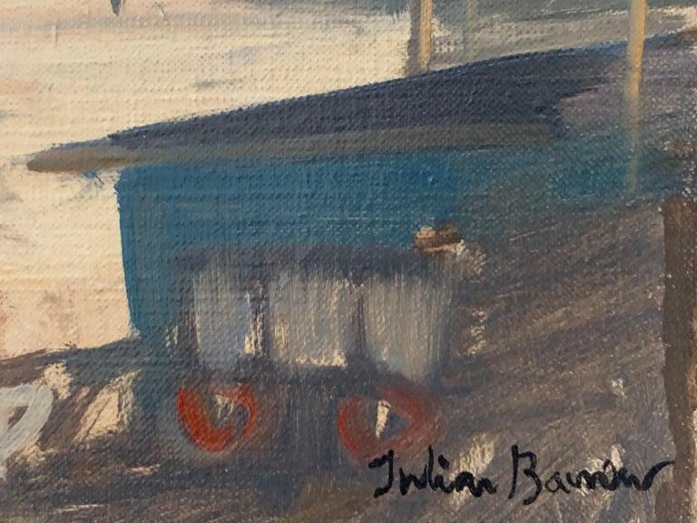 SIGNED ORIGINAL OIL - LOTS ROAD CHELSEA RIVER THAMES LONDON SKYLINE - Brown Landscape Painting by Julian Barrow
