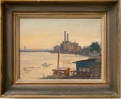SIGNED ORIGINAL OIL - LOTS ROAD CHELSEA RIVER THAMES LONDON SKYLINE