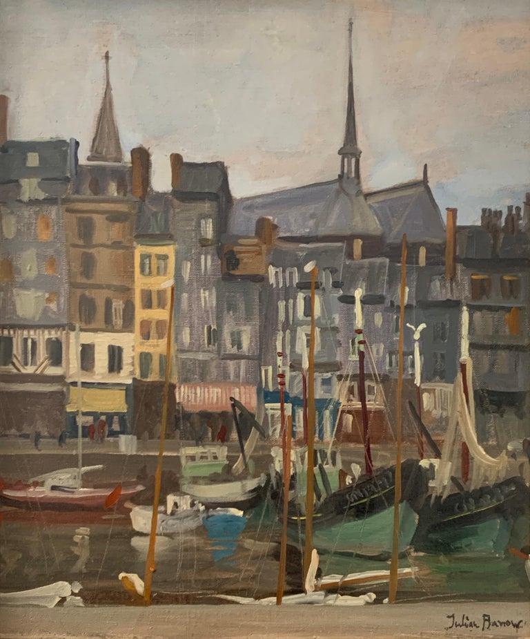 SIGNED ORIGINAL OIL - HONFLEUR HARBOUR - BOATS & SHOPS - Impressionist Painting by Julian Barrow