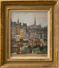 SIGNED ORIGINAL OIL - HONFLEUR HARBOUR - BOATS & SHOPS