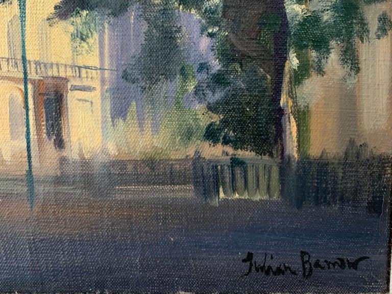 SIGNED ORIGINAL OIL - LONDON STREET SCENE SUNLIGHT - Brown Portrait Painting by Julian Barrow