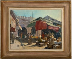 SIGNED ORIGINAL OIL - NORTH AFRICAN BUSY MARKET SCENE