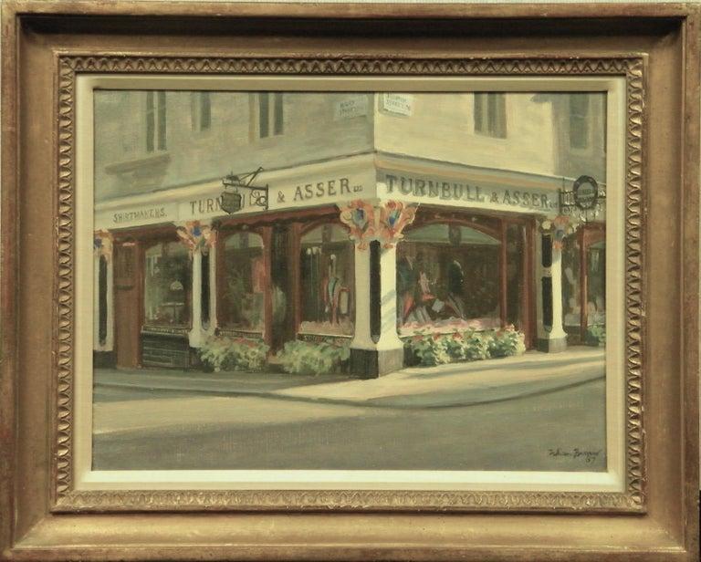 "Oil on canvas of 'Turnbull & Asser #71-72 Jermyn Street London by Julian Barrow (1939-2013) & dated (19)87   Provenance: Coe Kerr Gallery 49 East 82nd St Nyc!  Image Sz: 12H x 16""W Frame: 17"" x 21""  Artist Bio:  Julian Barrow was known for his"
