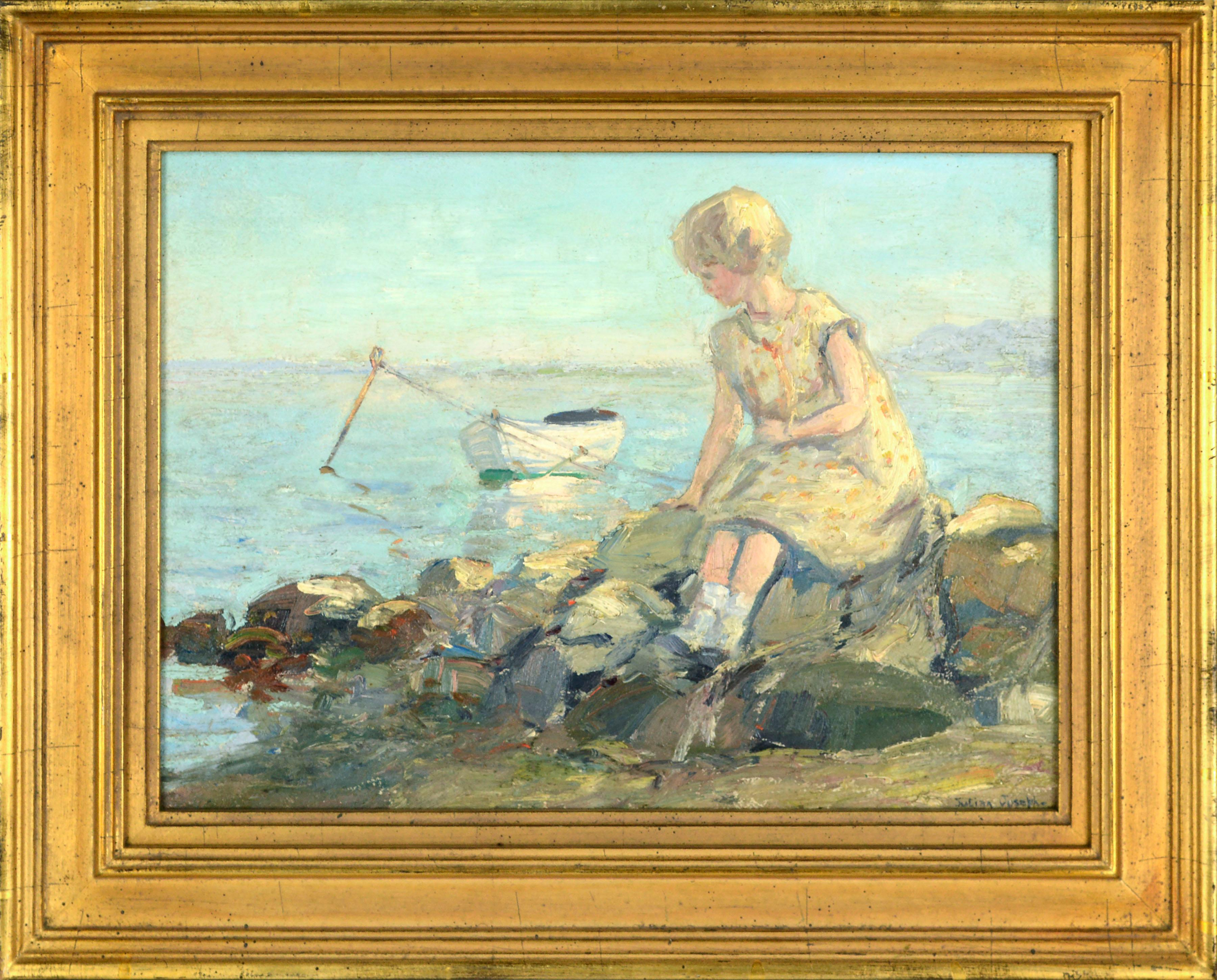 Girl on the Jetty with Rowboat - Mystic Art Colony