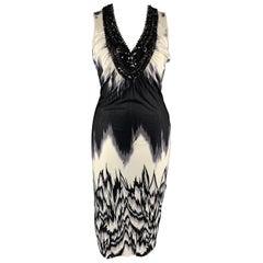 JULIAN MACDONALD Size 14 Black & White Beaded Tulle V Neck Sleeveless