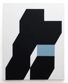 Contemporary American Minimalist Painting Abstract Geometric Blue Black White