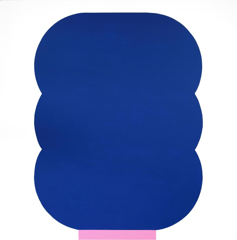 Julian Montague Abstract Painting - Contemporary American Minimalist Painting Abstract Geometric Blue Pink White