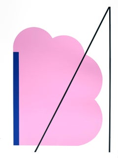 Contemporary American Minimalist Painting Abstract Geometric Pink Blue White