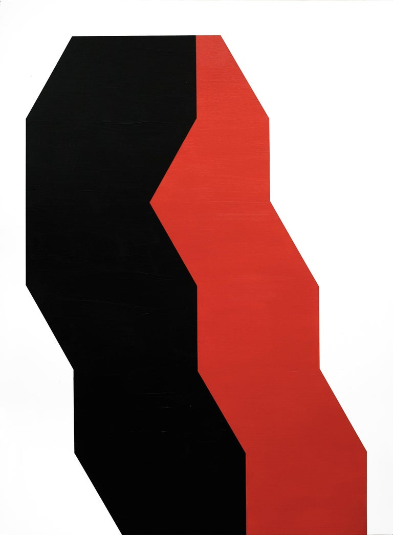 Julian Montague Abstract Painting - Contemporary American Minimalist Painting Abstract Geometric Red Black White
