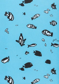 Fish -- Wallpaper, Woodcut, Print, Blue, Animals, Sea, Pop Art by Julian Opie