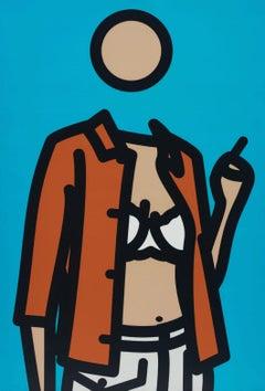 Ruth With Cigarette. 1 -- Print, Lambda, Portrait, Woman, Pop Art by Julian Opie