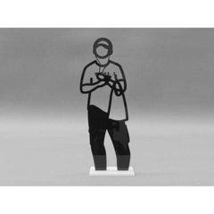 Statuette (Man with Headphones) by Julian Opie