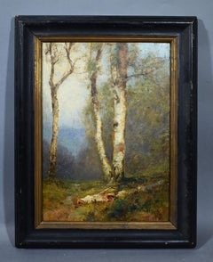 Antique American Impressionist Birch Tree Forest Landscape Signed Oil Painting