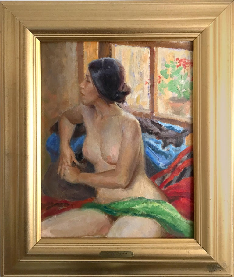 Julian Robles (American 1933); Girl with Geraniums; oil on canvas - Brown Portrait Painting by Julian Robles