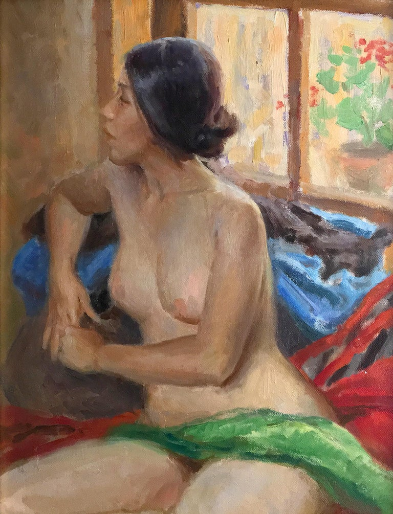 Julian Robles (American 1933); Girl with Geraniums; oil on canvas - Painting by Julian Robles
